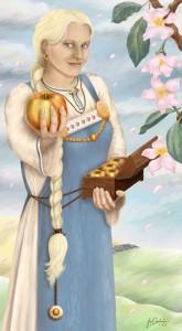 "Idun, 2002-2003. ""Idun is an old Scandinavian goddess. She guards the tree where the apples of youth and beauty grow..."" Digital,/Wacom tablet"