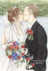 Wedding, Spring 2005 Wedding, It was a beautiful wedding!, Photo reference, Watercolour, 70*50cm