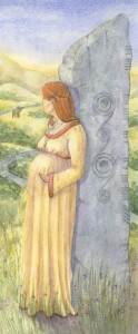 A Moment of Rest, 2003, Lady and a Celtic stone theme, Epilogue Watercolor