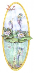 """Water Fairies, 2003, Private commission, together with """"Summer Fairies"""". Original size: 28*60 cm. Watercolor"""