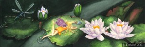 Waterlilies, 2001, You never know what you might find between the waterlilies... Watercolor